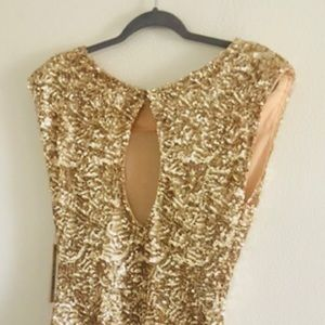 Gold sequence mini dress
